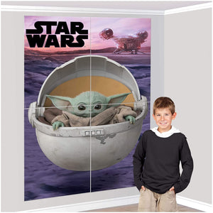 Baby Yoda Party Supplies for 16 - Plates, Cups, Napkins, Scene Setter, Balloons, Table Cover, & More