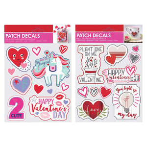 B-THERE Bundle of Valentine's Day Patch Sticker Decals for Books, Cards, Windows, Glass, Anywhere it can Stick.