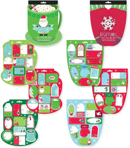 Pack of 2 Die Cut Christmas Holiday Gift Tag Label Booklet, 120 Folk Labels