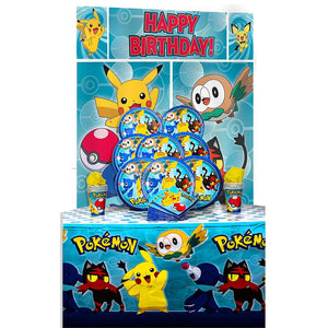 B-THERE Party Pack Bundle of Pokemon Party Supplies, Seats 8 - Napkins, Plates, Cup, Tablecloth and Scene Setter - Pokemon Party Supplies, Deluxe Party Pack