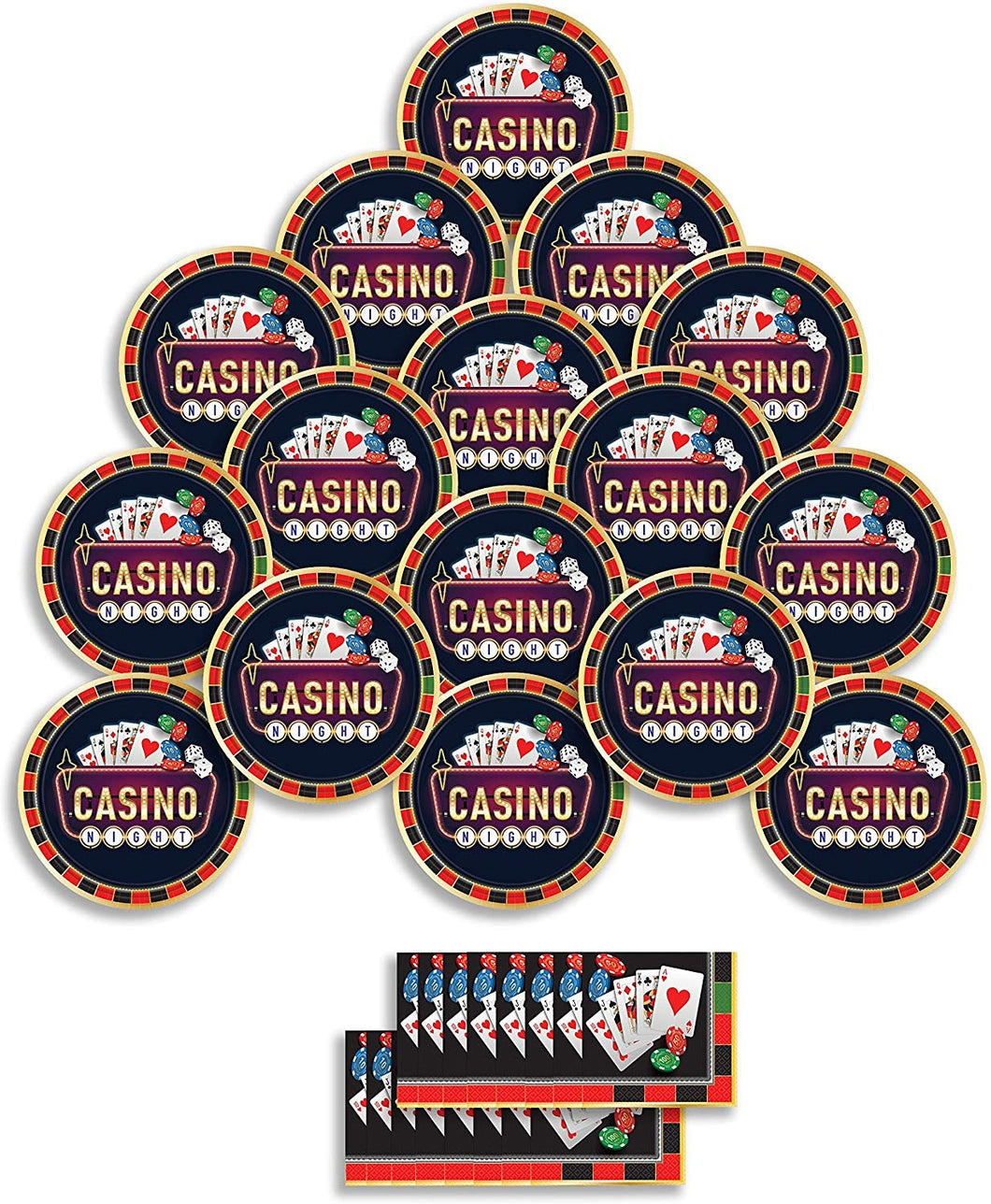 B-THERE Birthday Party Pack Bundle - Roll The Dice Casino Birthday Set, Seats 16: Plates and Napkins....