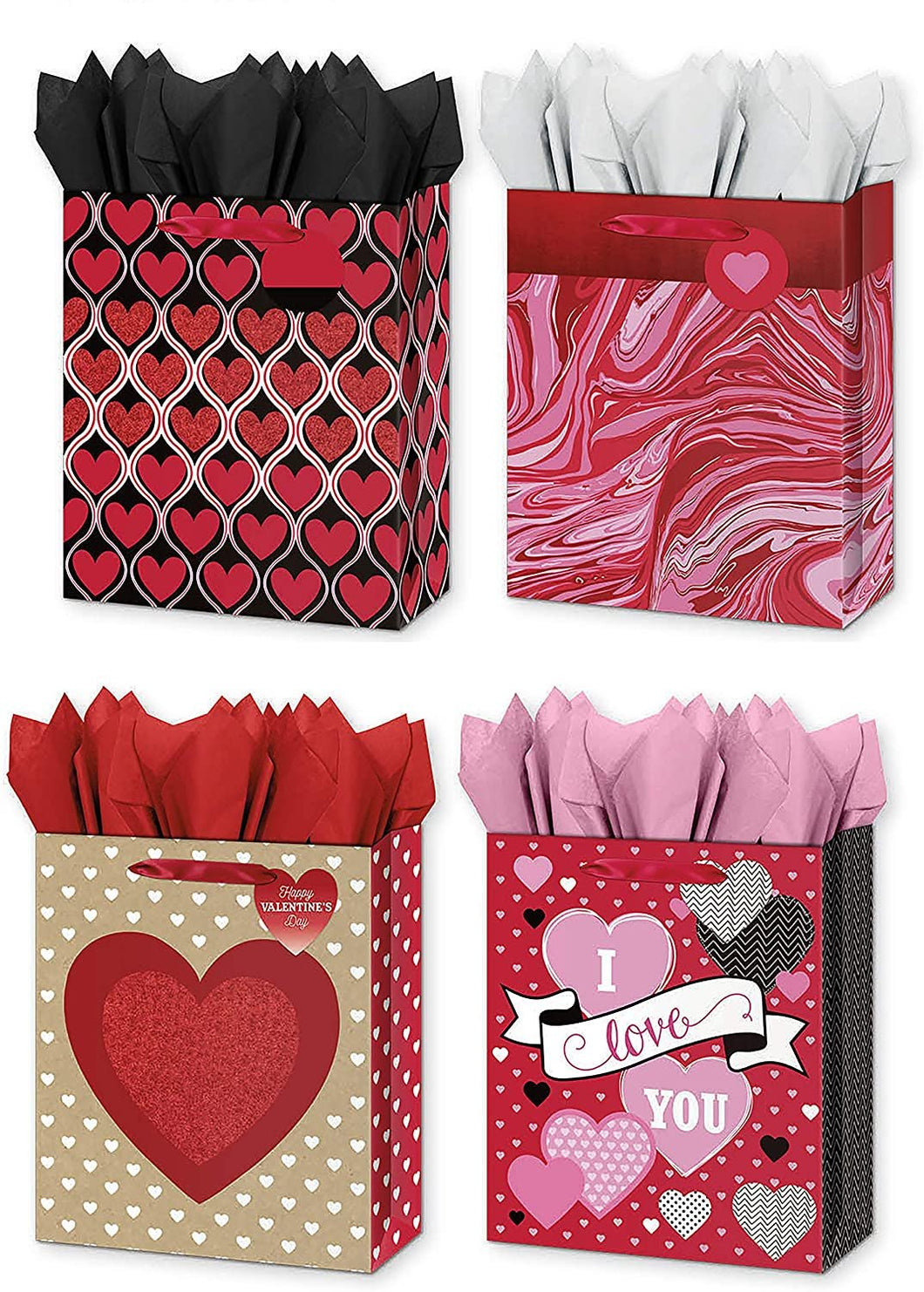 4 Large Gift Bags w/Tissue Paper Included Great for Valentines Day, Anniversary, Mothers Day, Birthday