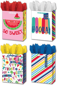 "B-THERE Bundle of 4 Jumbo 13"" x 18"" x 5"" General Gift Bags with Tags, Tissue for Men, Women, Birthday, Special Occasion"