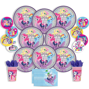 Party Pack Bundle - My Little Pony Friendship Adventures Party Bundle Seats 8: Napkins, Plates, Cups and Stickers - Childrens My Little Pony Party Supplies