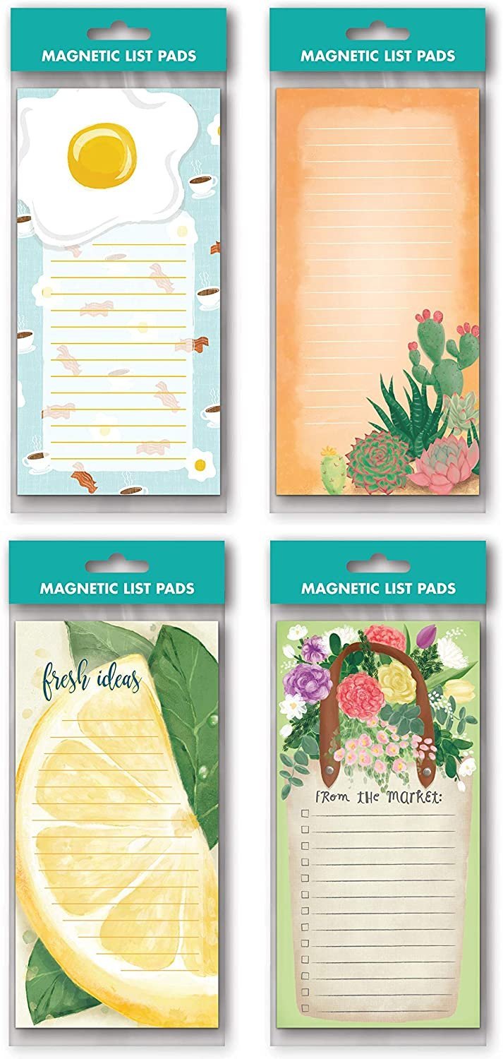 B-THERE Bundle of 4 Magnetic List Pad Notepad with Magnetic For Grocery, Fridge, To Do