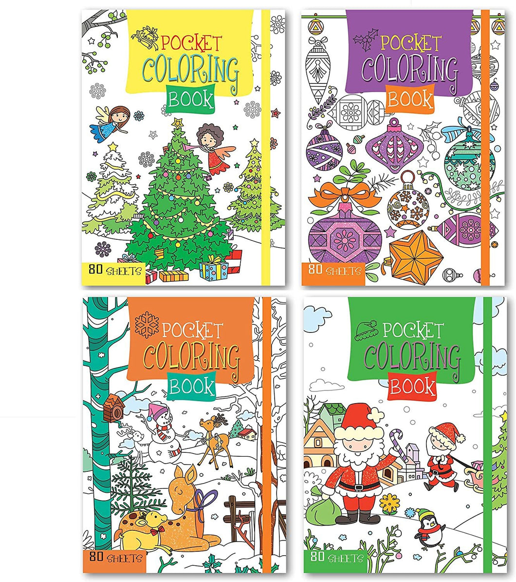 Christmas Coloring Books Set of 4 Pocket Sized with Elastic Bands & 80 Sheets Per Book