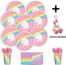 Load image into Gallery viewer, B-THERE Unicorn Birthday Party Pack Bundle - Girls Magical Rainbow Unicorn Birthday Set, Seats 8: Plates,...