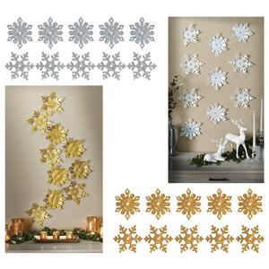 B-THERE Bundle of 20 Large White and Gold Glitter Snowflake Christmas Winter Holiday Decorations, Self-Adhesive Wall Art and Mirror Stickers