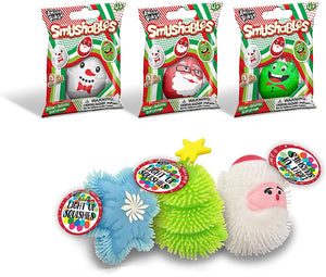B-THERE Bundle of 3 Christmas Light Up Squishies & 3 Holiday Smushables