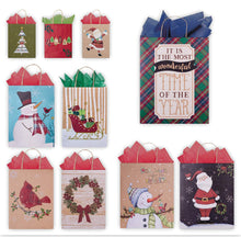 Load image into Gallery viewer, 10 Pack of Assortment Christmas Gift Bags - Xmas Giftbags Kraft Designs