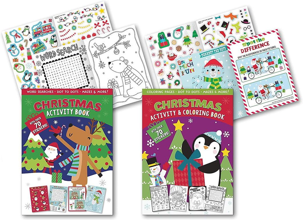 B-THERE Christmas Super Sticker Activity Book Set of 2 Xmas Activity Books, Filled with Fun Including: Dot-to-Dot, Word Search, Spot The Difference and More!