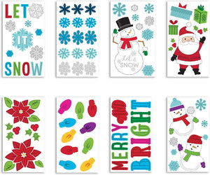 "B-THERE Bundle of Christmas Xmas Decorations 5.5"" x 12"" Window Gel Clings, Winter Holiday Decorations"