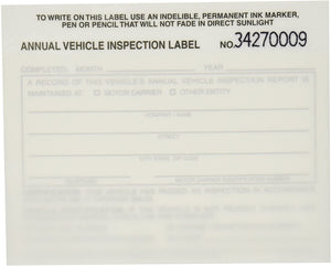 J.J. Keller 15048 Annual Vehicle Inspection Report with Label