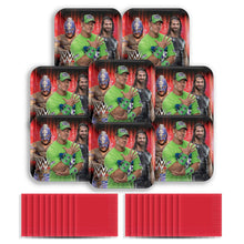 Load image into Gallery viewer, B-THERE WWE Party Pack for 8 Guests - 8 Dessert Plates and 20 Beverage Napkins John Cena, Ray Mysterio, Seth Rollins - Party Supplies