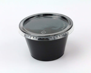 Disposable 4oz Plastic Condiment Cups with Lids, Sample Cup, Jello Shot Cups, Salad Dressing, Souffle Portion, Sampling (200, Black)