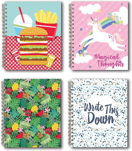 "B-THERE Bundle of 4 Stationery Soft Cover 5"" x 6"" Spiral Bound Notebook, w/Hamburger Fries, Llama, Fruit Covers"