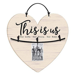 "White Heart Shaped""This Is Us"", Hanging Photo Holder Decoration"