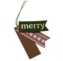 Load image into Gallery viewer, B-THERE 48ct Triple Layer Kraft Christmas Holiday Contemporary Folk Gift Tags with Kraft Tie Loop, Foil Finish