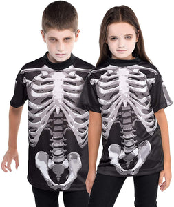 Suit Yourself Black and Bone Skeleton T-Shirt for Children, One Size up to Boys' Size 10, Print on the Front and Back