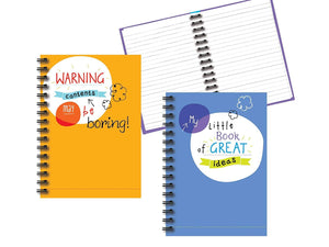 "Hardback Spiral Notebook Set - 8.25"" x 5.75"" Paper Size, 2 Notebooks - Lined Pages, 2 Different Designs Stationery"