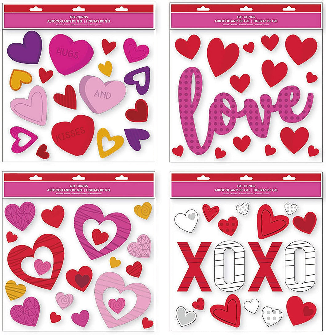 B-THERE Bundle of Valentine's Day Window Gel Clings of Hearts, Love, Hugs and Kisses