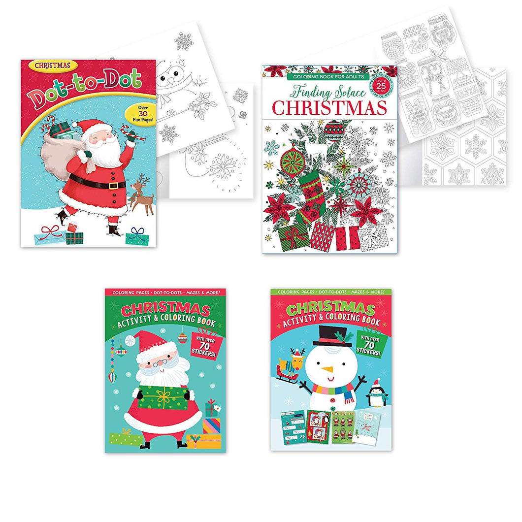 B-THERE Bundle of Christmas Coloring & Activity Book Set of 4 Xmas Coloring Books