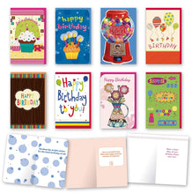 "Load image into Gallery viewer, Assorted General Birthday Cards Bulk Card Set of 8 Cards with Envelopes. Large Handmade Cards 5"" x 8"" with Foil/Glitter Finishes"