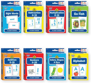 B-THERE Bundle of 8 School Zone Flash Cards, Pre-K - 4th Grade. Sight Words, Subtraction, Multiplication, Go Fish, Addition, Numbers, Colors & Shapes and Alphabet