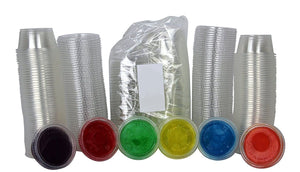 Disposable 2oz Plastic Condiment Cups with Lids, Souffle Portion, Jello Shot Cups, Salad Dressing, Sauce (100, Black)