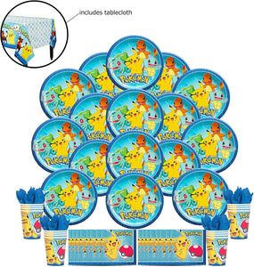 B-THERE Party Pack Bundle of Pokemon Party Supplies Seats 16 - Napkins Plates Cups and Tablecloth - Deluxe Party Pack Supplies