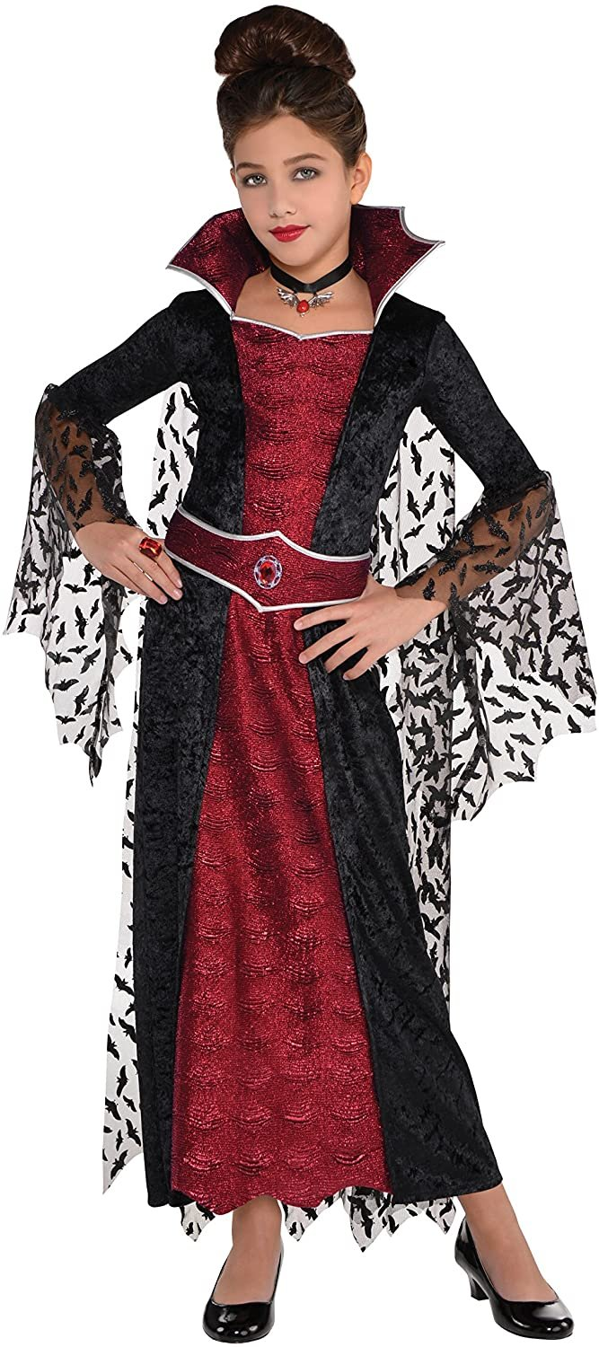 amscan 847250 Girls Coffin Queen Vampire Costume, Medium Size (8-10 Years Old)