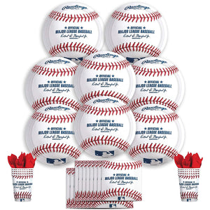 B-THERE Rawlings Baseball Party Pack Bundle - Baseball Themed Birthday Party Set, Seats 8: Plates,...