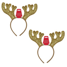 Load image into Gallery viewer, Christmas Deer Glittered Headband Set of 2