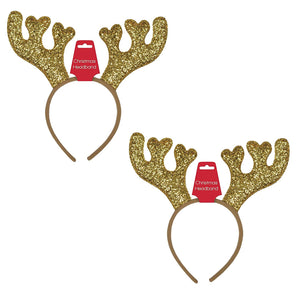 Christmas Deer Glittered Headband Set of 2