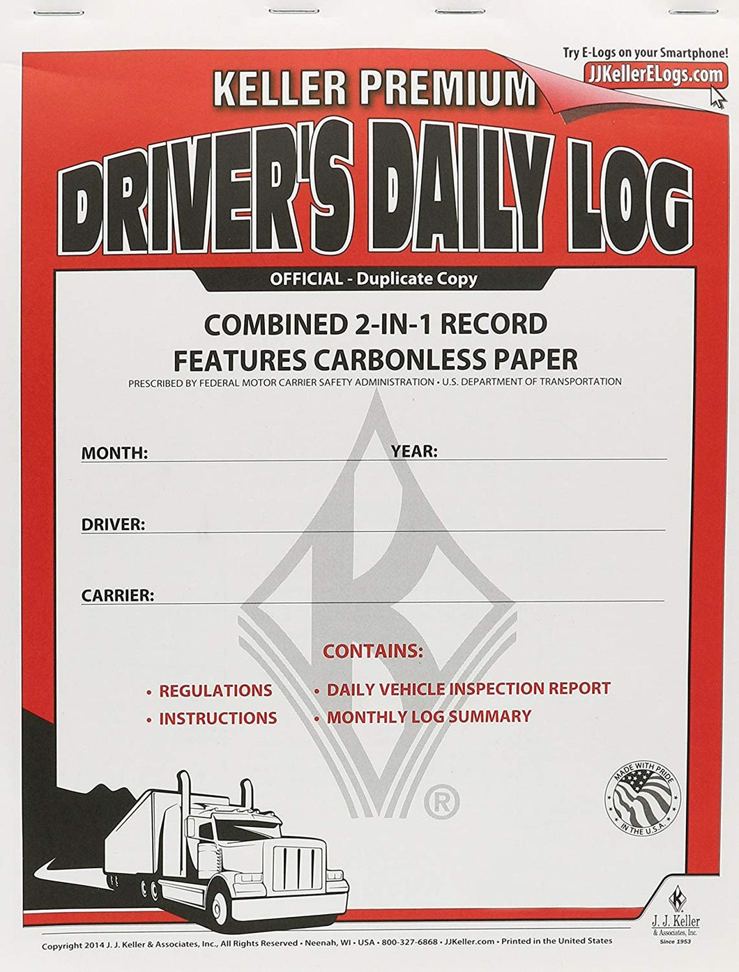 J.J. Keller 8530 2-in-1 Driver's Daily Log Book with Detailed DVIR