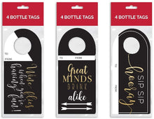 Load image into Gallery viewer, B-THERE Bundle of 12 Kraft Wine Bottle Gift Tags, Great for Wine Gifting