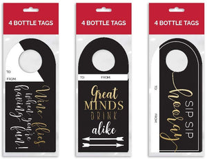 B-THERE Bundle of 12 Kraft Wine Bottle Gift Tags, Great for Wine Gifting