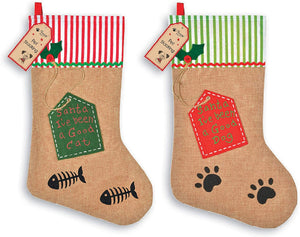 B-THERE Cat & Dog Christmas Stocking 2 Pack