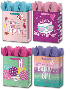 "B-THERE Bundle of 4 Large 10"" x 12"" x 5"" Kids Gift Bags with Tags and Tissue for Boys, Girls, Children for Birthday Party or Special Occasion"