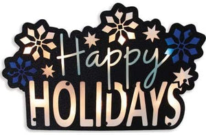 Impact Innovations Silhouette Lighted Shimmer Happy Holidays Sign