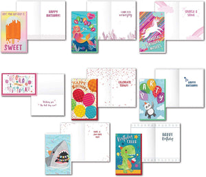 Bundle of 8 Large Handmade Juvenile Happy Birthday Cards Embellished With Ice Cream, Mermaid, Balloons, Shark, Unicorn, Panda Bear and Dinosaurs with Sentiment Inside