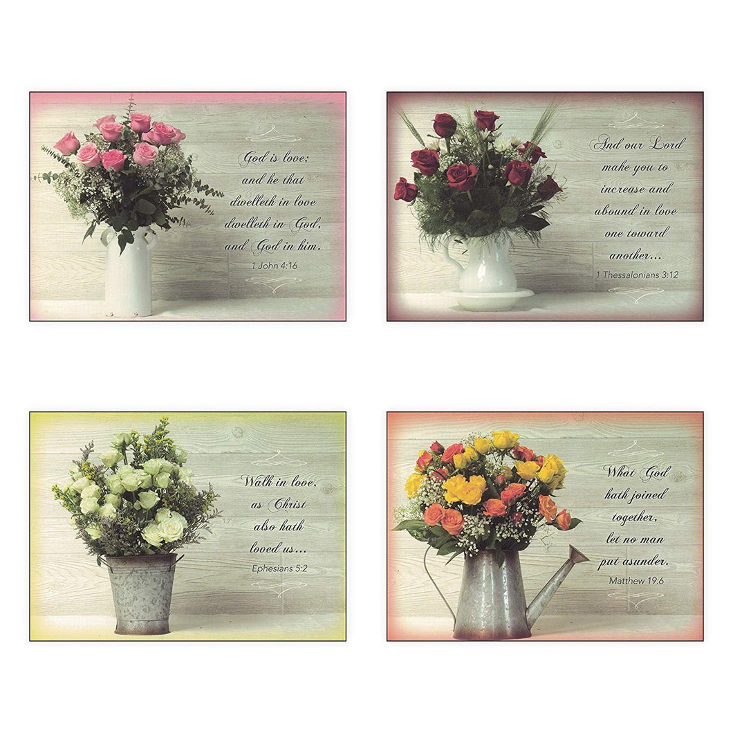 Pack of 12 Religious Boxed Enclosure Cards - Rose Bouqet - Wedding Card Pack, Envelopes Included