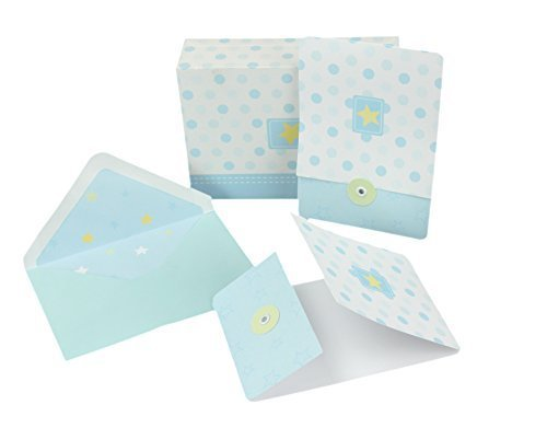 "Baby Shower Thank You/Invitation Cards, Envelopes & Keepsake Box (Boy) ""Lil' Star""– 10 Blank Inside Notecards w/11 Matching Envelopes – Baby Shower Thank You, Invitation, Stationery Note Cards"