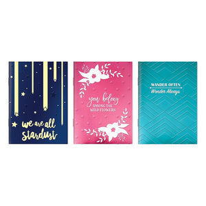 "B-THERE Bundle of Embossed Soft Cover Notebooks - 3 Different Designs - 5"" x 7"" Foil Finishes Notebooks Stationery"