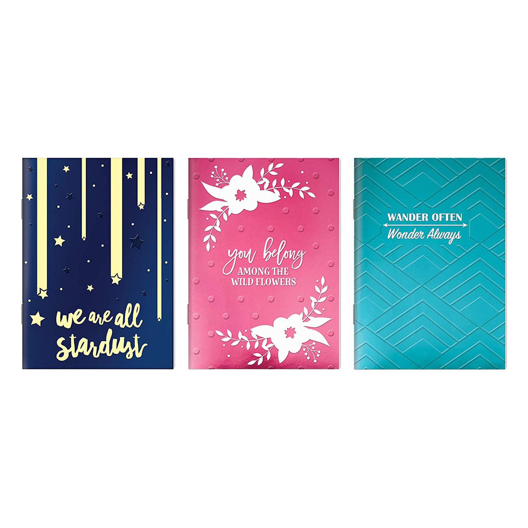 B-THERE Bundle of Embossed Soft Cover Notebooks - 3 Different Designs - 5