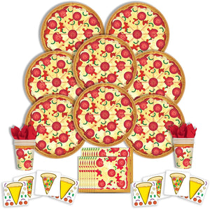 B-THERE Pizza Party Supplies Any Occasion Party Pack - Seats 8: Napkins, Plates, Cups and Stickers -...