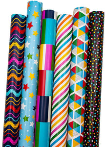 B-THERE Geometric Gift Wrap Wrapping Paper for All Occasions. 6 Different Designs of 6 ft X 30 Roll! for Women, Men, Birthday Party, Adults, Kids.