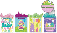 Load image into Gallery viewer, Pack of 4 Easter Foam Tip-On Gift Bags w/Tissue Paper - Large