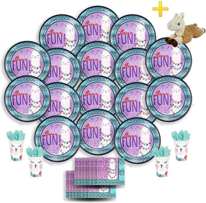 B-THERE Llama Fun Party Pack Bundle - Llama Fun Birthday Set, Seats 16: Plates, Cups, Napkins and Plush Stuffed Llama Toy. Childrens Party Supplies