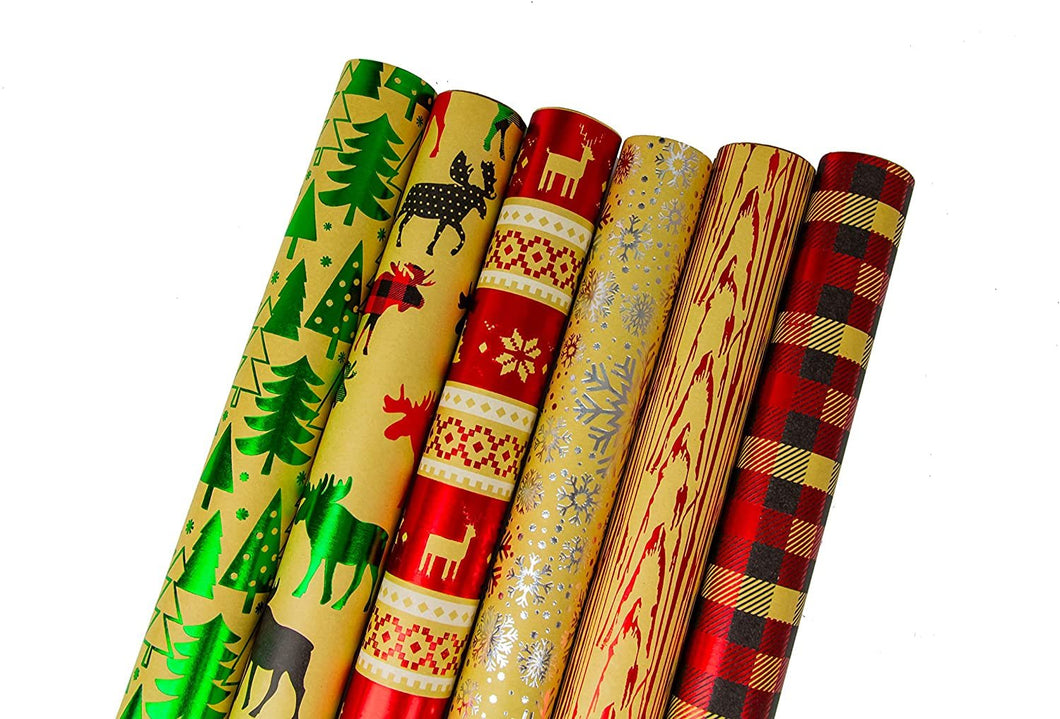 Bundle of 6 Rolls of Christmas Gift Wrapping Paper, Kraft - Cozy Cabin - 90 Total Sq Ft of Xmas Wrap